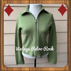 John Varvatos Green Merino Wool Zip Front Cardigan